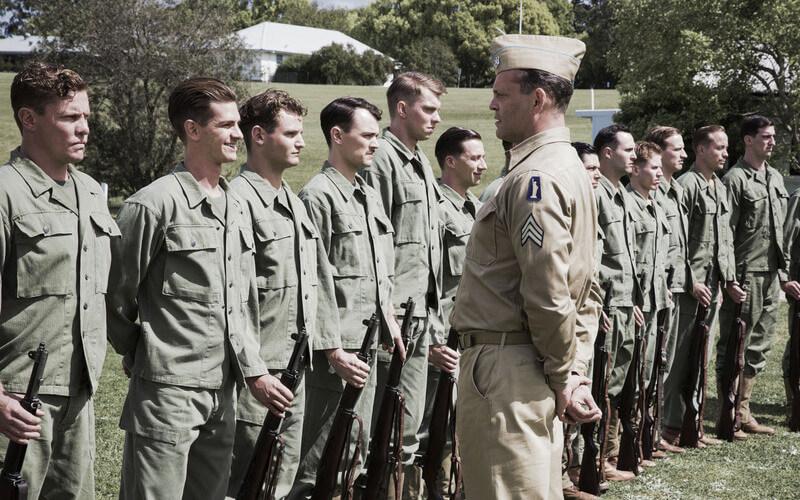 Vince Vaughn, în rolul sergentului Powell, în filmul Hacksaw Ridge.