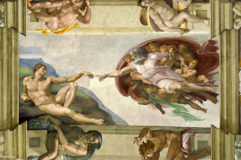 Michelangelo, Crearea lui Adam (Capela sixtină, Vatican).